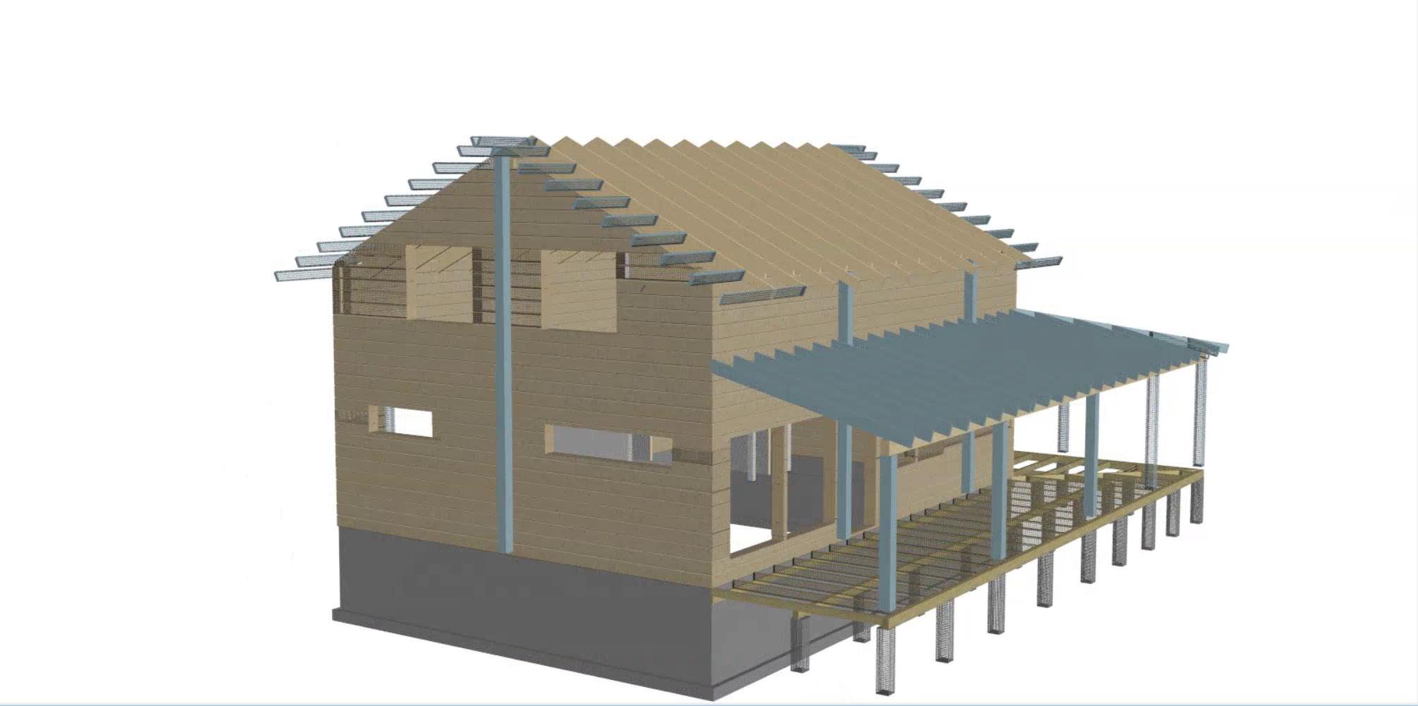 Hirsirakennuksen kantavat rakenteet
